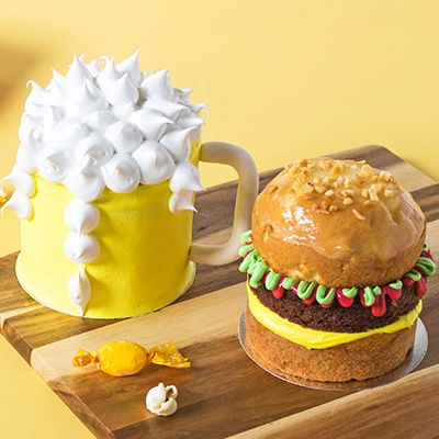 BURGER AND BEER CAKE COMBO