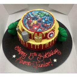 Decorated With An Edible Image Fondant Avengers Figures And A Personalized Birthday Message