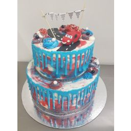 A Super Cool Cars Drip Cake For The Lightning Mcqueen Fan In Your Life Double Height 2 Tier 7inch And 95inch Mudcakes Of Choice Covered White
